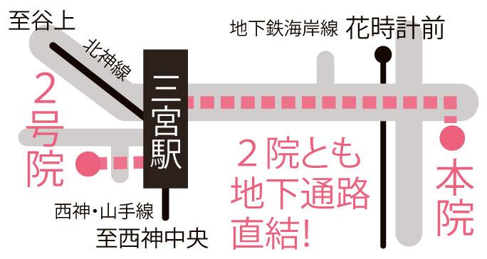 三宮駅から当院までの地図